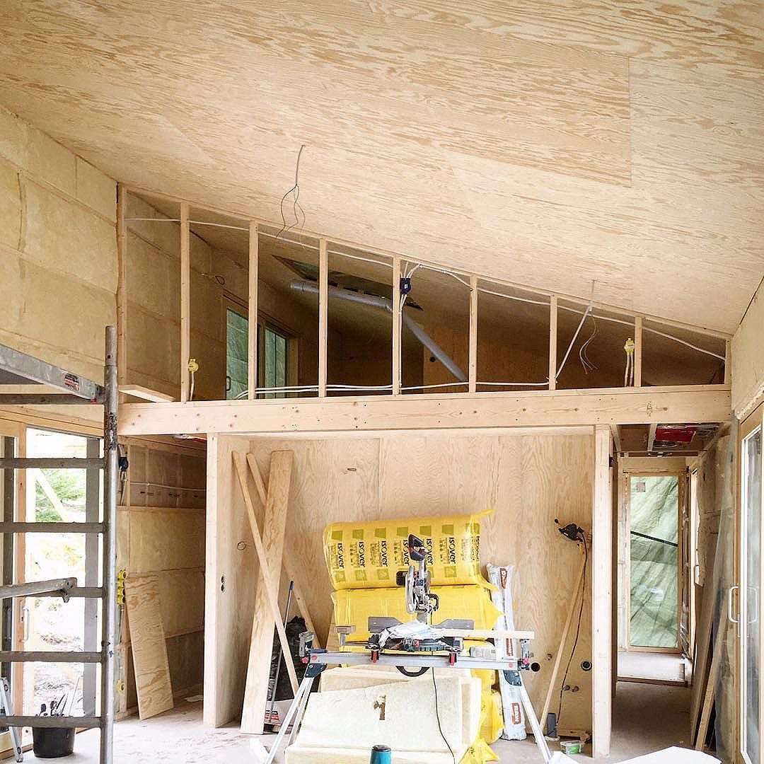 Pine plywood interior in a private summer house in Kungsdalen, south of Stockholm.